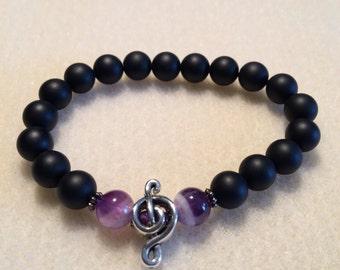 Onyx & Amethyst bracelet