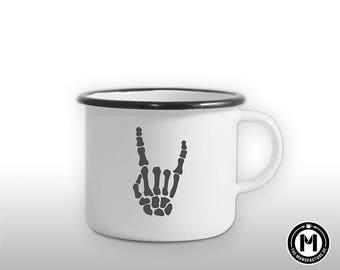 Rock bone rocker \ m/Music biker enamel mug/cup gift man friend outdoor design, festival, cool, retro revival, new