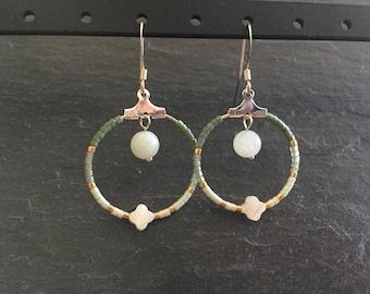 Earrings silver hoop earrings, Pearl miyuki beads and amazonite.