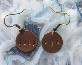 Custom 4-5 letter word copper earrings