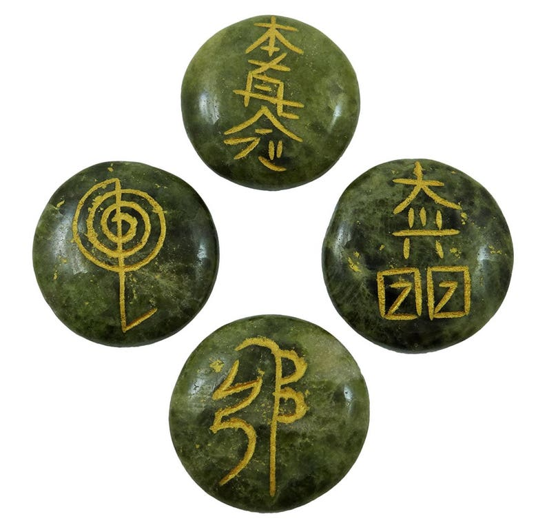 Set Of 4 Pcs Serpentine Stone, Chakra Symbol Spiritual Reiki Healing  Natural Genstone, Energy Generator Crystal, With Gift Pouch HCDR730A