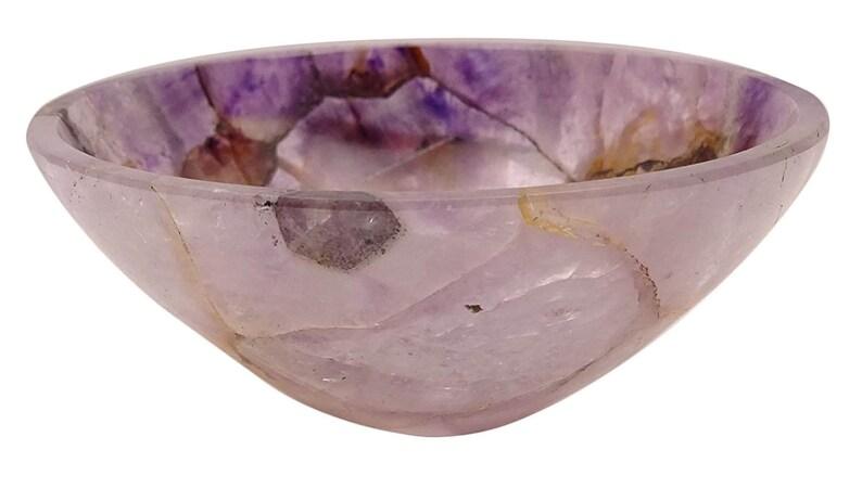 HARMONIZE Labradorite Stone Hand Carved Bowl Energy Generator Spiritual Reiki Healing Stone