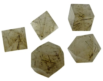 5 Pieces Tourmaline Quartz Stone, Platonic Solid Sacred Reiki Healing Crystal, Balancing Gemstone, With Gift Pouch HCDR1479C