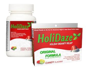 Funny Secret Santa Gift - Holidaze Candy Box or Bottle! Stocking Stuffers Christmas Gag Gift