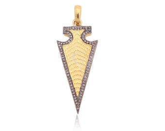 DBDS-5 1 Piece Diamond Hamsa Pendant 925 Sterling Silver Rectangle Shape Pendant Size 26x39mm