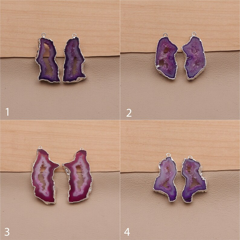 Wholesale Earring Components Connector Pairs Agate Druzy Gemstone Silver Electroplated Earrings Single Bail Connect Slice Earrings A-18094