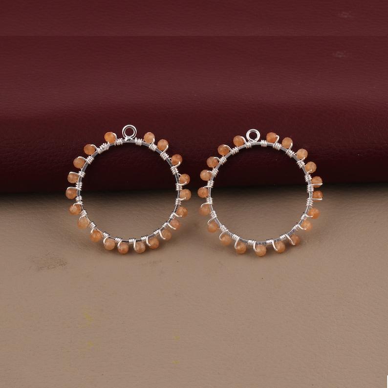 GJ-1019 Cats-Eye /& Moonstone Gemstone Beads Earring Silver Plated Round Earrings Connector Wire Wrapped Single Bail DIY Earrings Peridot