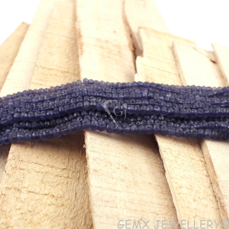 3.5-4mm Micro Faceted Gemstone Beads 13 Inches Long. BDS3-32 Iolite Rondelle Beads