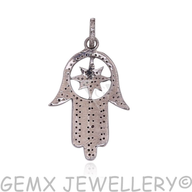 Oxidized Silver Pave Hamsa Pave Connector DBDS-072 Pave Religious Diamond Star Hamsa Charm Pave Diamond Pendant Pave Hamsa Pendant