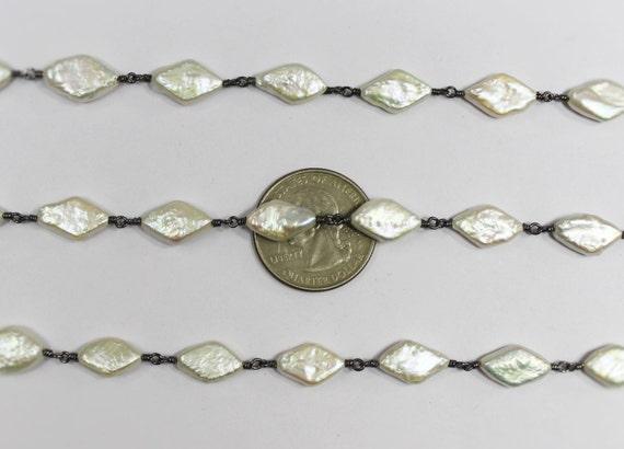 perle d'eau douce un pieds, 6-9 mm noir plaqué plaqué plaqué enroulé de fil collier chapelet de pieds (RCP-B0006) 828259