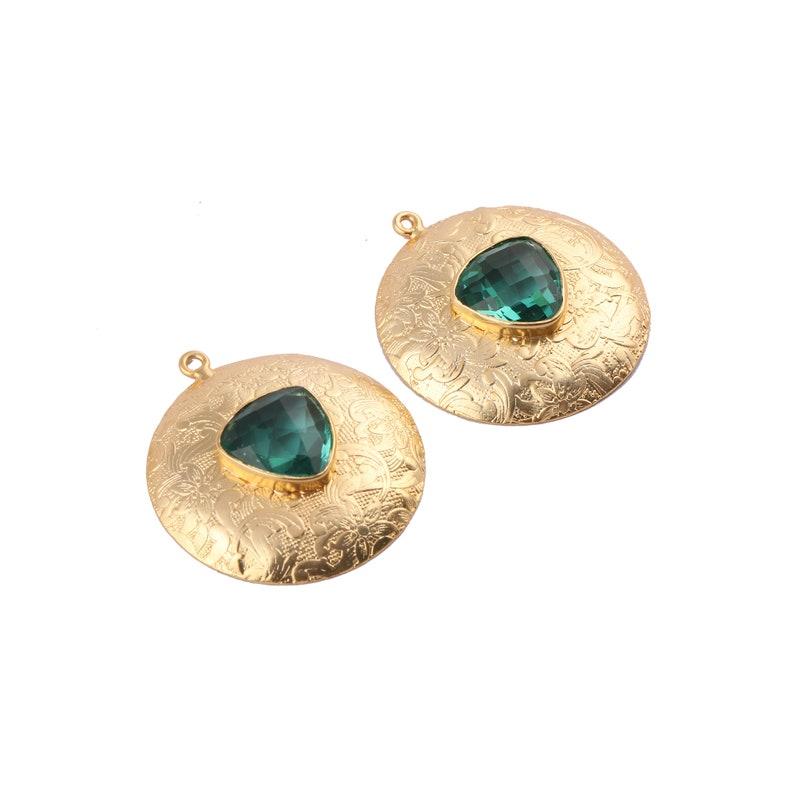 Chalcedony Gemstone Earring Gold Plated Earrings Single Bail Connect Handmade DIY Earrings Designer Earrings Connector Apatite GJ-1026