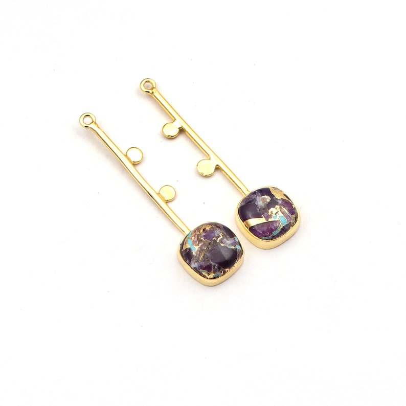 A-14394 Gold Plated Earring Pairs Chalcedony Onyx /& Mohave Turquoise Gemstone Cushion Shape Earrings Components Jewelry Supplies