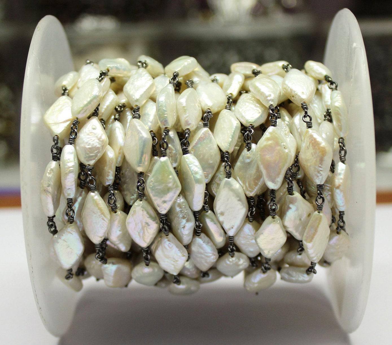 perle d'eau douce un pieds, pieds, pieds, 6-9 mm noir plaqué enroulé de fil collier chapelet de pieds (RCP-B0006) e3ac88