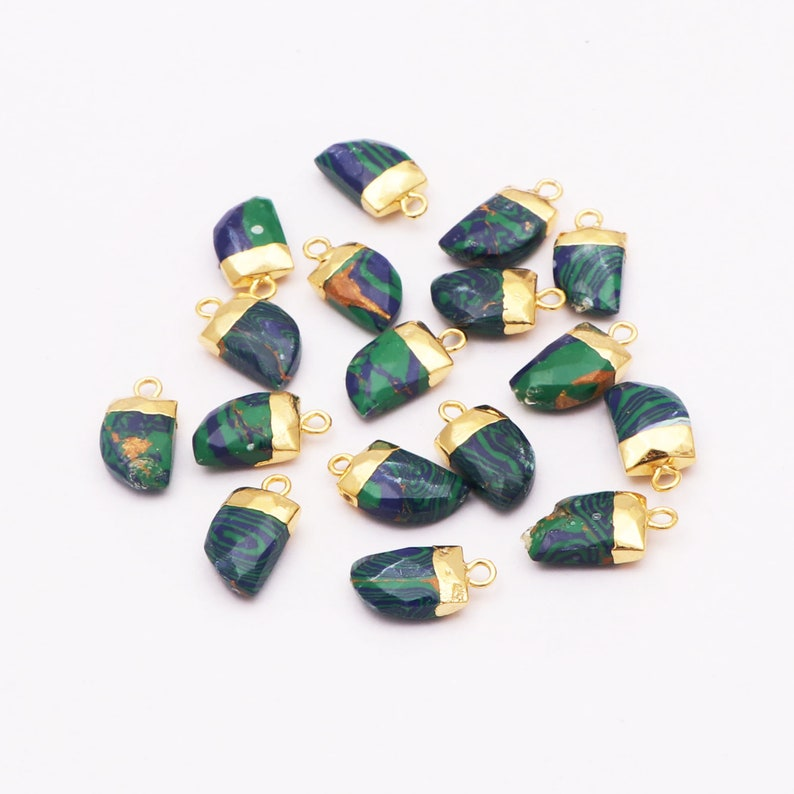 Single Bail Connector Tiger Nail Shape Gold Electroplated Charm Components Pendant Connectors GJ-5765 Green Howlite Turquoise Gemstone