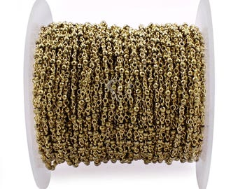 Golden Pyrite Rondelle Beads Rosary Chain, 2mm Gold Plated Wire Wrapped Rosary Chain / Beads Chain / Gemstone Chain. (RCG-1)