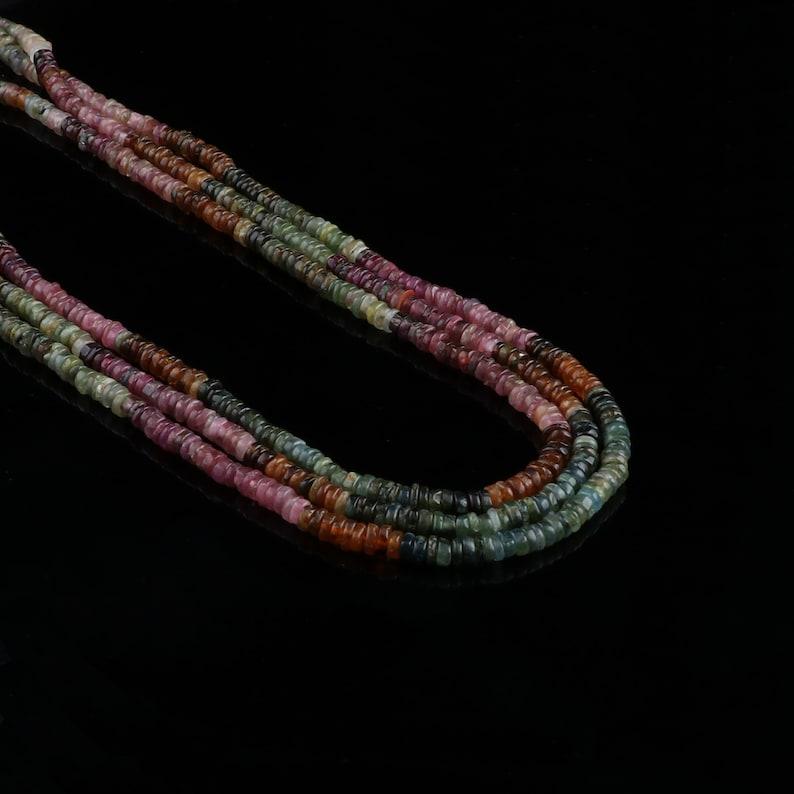 Smooth Polished Beaded Wheel Beads Supply GJ-1290 heishi beads Gemstones Tyre Beads Strand 4-5 MM Multi Tourmaline Gemstone Strand