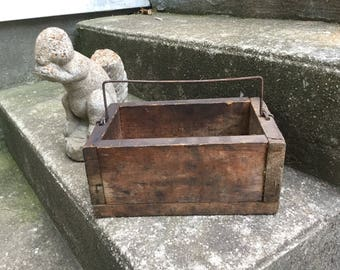 Primitive Rare Wooden Box With Handle