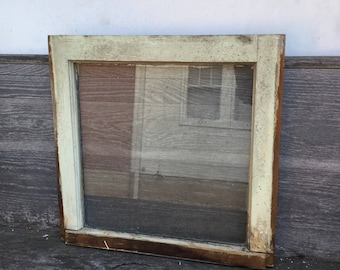 Old Weathered Rustic Painted Wood Window with Original Vintage Glass