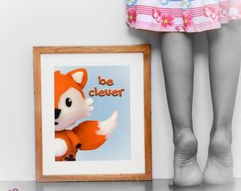 CLEVER fox; peekaboo;  digital download; wall decor; baby prints; naif; gicleé; clay; kids; childrens; nursery; plastic arts; toys; funny