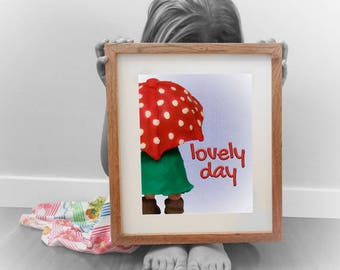 LOVELY DAY; umbrella; digital download; wall decor; baby prints; naif; gicleé; clay; kids; childrens; nursery; plastic arts; toys; funny