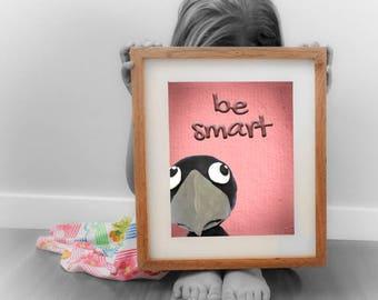 SMART crow; peekaboo; digital download; wall decor; baby prints; naif; gicleé; clay; kids; children; nursery; plastic arts; toys; funny