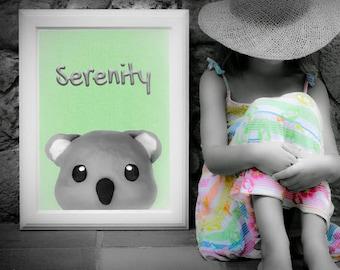 SERENITY koala; peekaboo; digital download; wall decor; baby prints; naif; gicleé; clay; kids; children; nursery; plastic arts; toys; funny