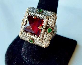 vintage silver Garnet Square Ring for her/him Ring Size Q Unisex Ring