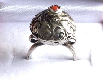 coral ring,carved silver ring,carved coral ring,sterling silver ring