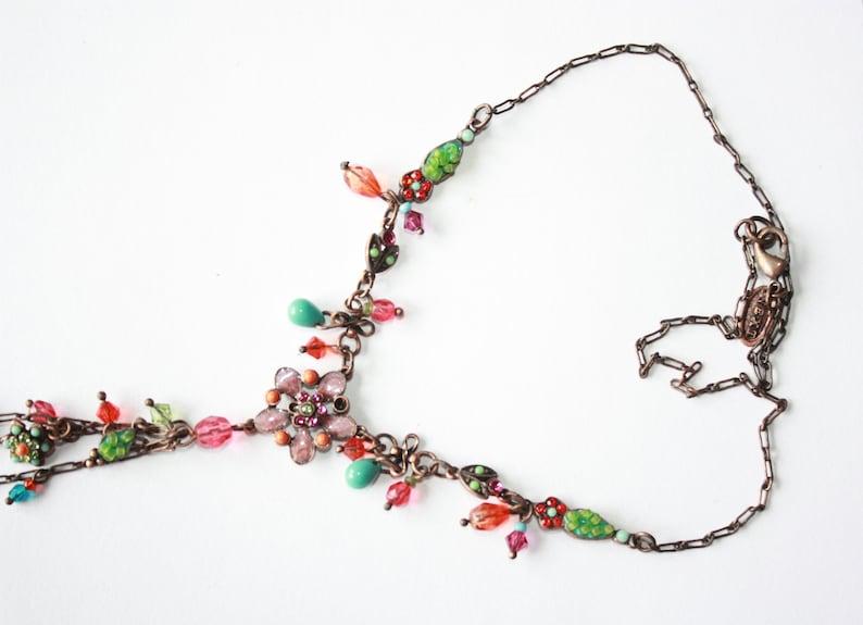 vintage romantic multicolored  flowers lariat V collar necklace garden jewellery