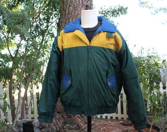 Vintage Green Members Only Puffer Jacket w Hidden Hood Brazil Edition (Vintage / 80s / Members Only)