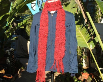 Red Knit Acrylic Fringe Scarf w/ Black Accent (Vintage / 80s)