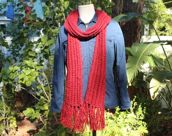 a59d011e7f845 Long Thin Red Knit Scarf w Fringe (Vintage   80s)