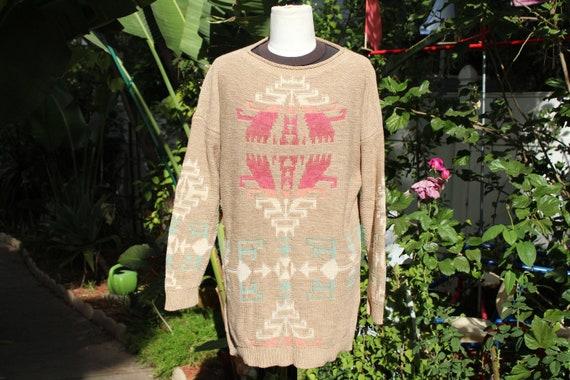 Ralph Lauren Brown Multi Color Print Pullover Swe… - image 1