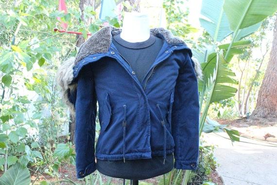 Vintage 80s Short Blue Fishtail Parka Split Hood (
