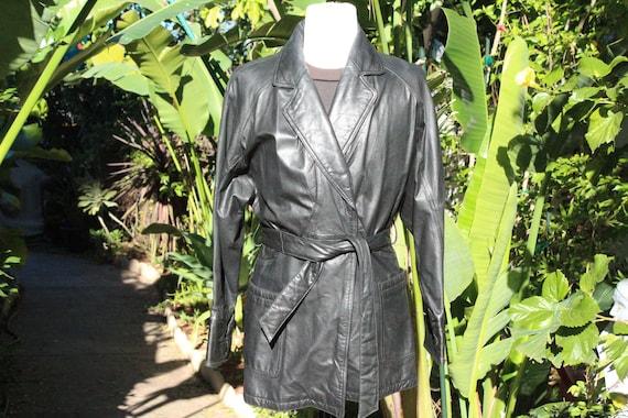 Vintage Black Wilsons Leather Belt Coat (Vintage /