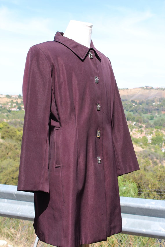 Unique Claspped Dark Red Blade Runner Overcoat Ra… - image 2