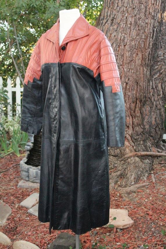 Vintage 60s Black / Red Long Leather Coat (Vintag… - image 5