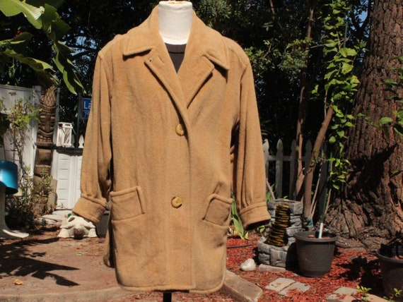 Vintage 70s I Magnin Tan Brown Camel Hair Peacoat