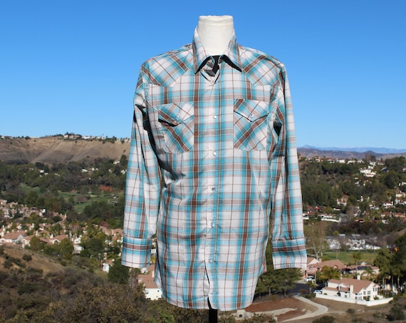 Vintage 70s Western Blue / White Plaid Shirt (Vint