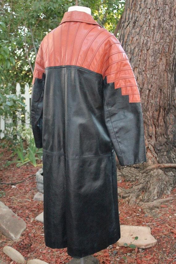 Vintage 60s Black / Red Long Leather Coat (Vintag… - image 7