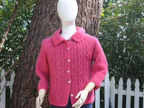 Vintage Hand Knit 50s Pink Wool Cardigan w Shell B