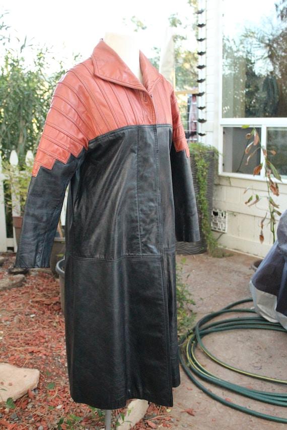 Vintage 60s Black / Red Long Leather Coat (Vintag… - image 4