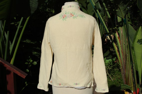 50s Beaded White Wool Sweater w Liner (Vintage / … - image 5