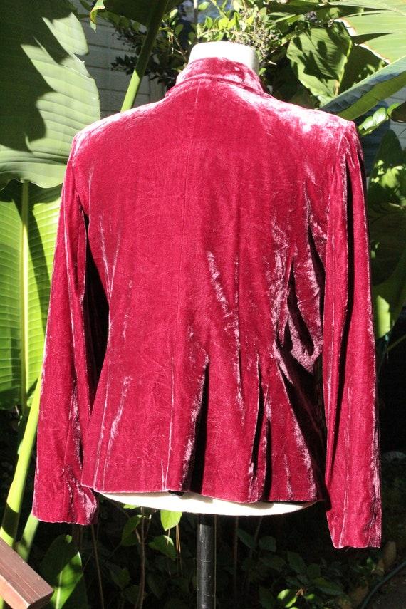 Red Burgundy Velvet Blazer w Ball Buttons (Vintag… - image 6