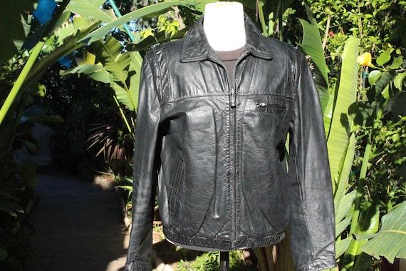 Vintage 70s Black Wilsons Leather Motorcycle Jacke