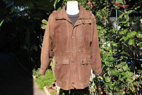 Long Brown Insulated Wilsons Leather Parka w Remov