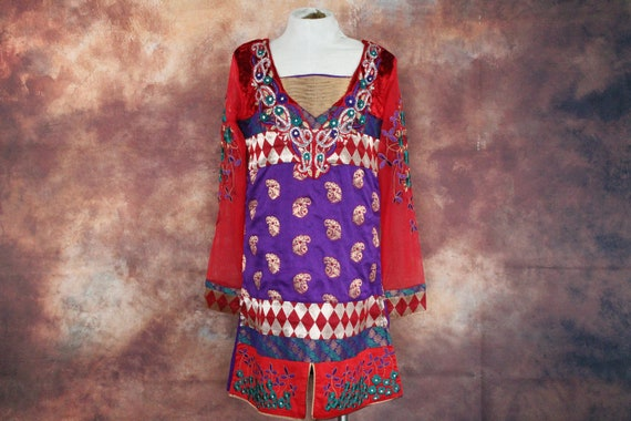 Kid's Red / Purple Indian Paisley Dress w Mesh Arm
