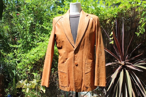 Vintage Wilson's Leather 70s Burnt Orange Brown B… - image 1