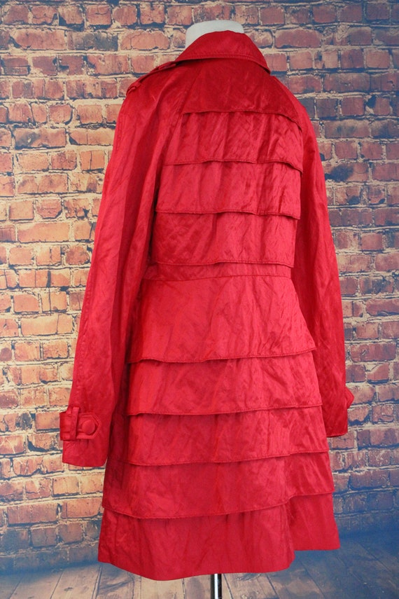 Red Shiny Ruffle Double Breasted Overcoat (Vintag… - image 4