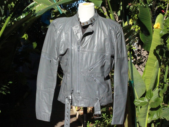 Vintage 70s Grey Wilsons Leather Motorcycle Jacket